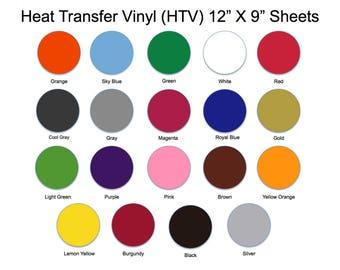 """Heat Transfer Vinyl, HTV Sheets, 12"""" X 9"""", Easy Weed, htv, DIY, T Shirt Vinyl, Heat Press Vinyl, Iron On Vinyl, Regular HTV Sheets, htv diy"""