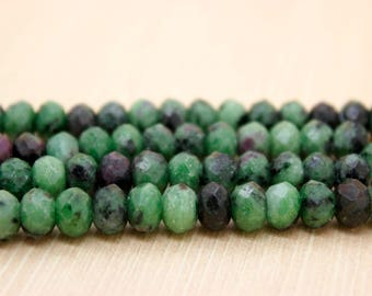 Ruby Zoisite Faceted Rondelle Natural Gemstone Beads (4mm x 6mm, 5mm x 8mm, 6mm x 10mm)