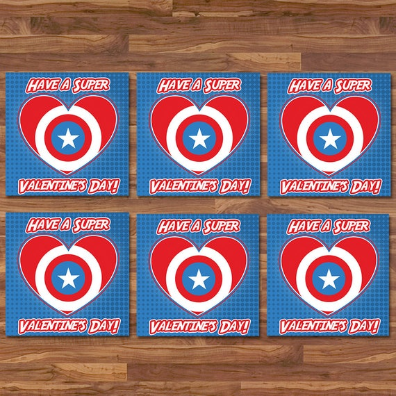 Captain America Valentine's Day Cards - Captain America Logo School Valentines - Captain America Printable - Superhero Valentines Day Card