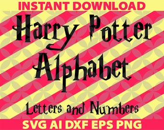 Harry Potter Letters SVG, Eps Ai Dxf Png Monogran Silhouete Cricut Clipart Decal