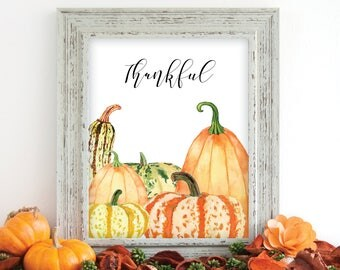 Thankful print, Thankful printable, thankful wall art, Thanksgiving print, thanksgiving decor, thanksgiving art,Fall Artwork,Fall Home Decor