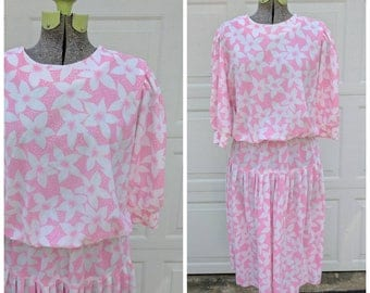 Vintage 80's Pink and White Floral Dress, M/L