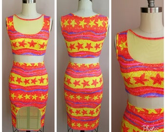 Bodycon 2 piece set with mesh ...skirt and crop top