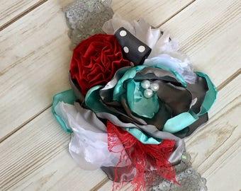 Girl flower headband- baby girl headband- woman shoulder pin