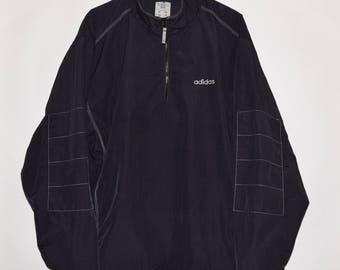 Vintage VTG 90's Adidas Nylon Half Zip Spell Out Windbreaker Jacket Black XL