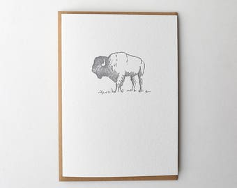 Letterpress Bison Greeting Card