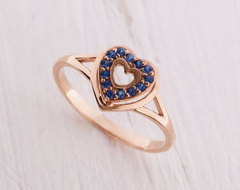 Sapphire ring, Heart ring, Blue sapphire ring, September birthstone, Romantic ring, Promise ring, Promise ring for her, Valentines ring