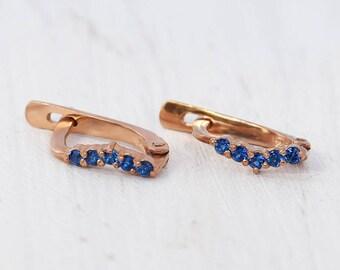 Minimalist earrings, Sapphire earrings, Small earrings, 14k gold earrings, Gemstone earrings, Delicate earrings, Tiny earrings