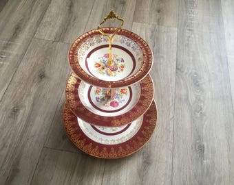 Beautiful Crownford Burslem Red Vintage China Cake Stand