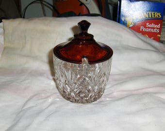 Pineapple Marmalade jar with a ruby stained lid