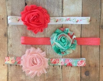 Baby Headbands, Baby Girl, Vintage Headbands, Shabby Chic, Baby Shower Gift, Newborn Headbands, infant headband, headband set