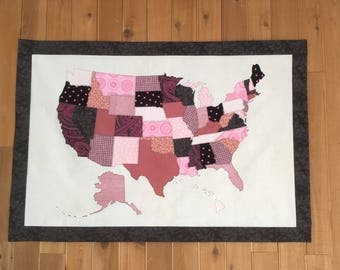 USA Fabric Scrap Map with border--Pink and Gray, Fabric Map, State, United States of America, America
