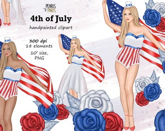 4th of July Clipart,Fourth of July clipart, Independence Day Clip Art,Patriotic Clipart, USA clipart, American Girl clipart,memorial day,PNG