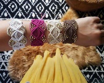 Macrame Cuff Bracelet - Boho Jewelry - Bohemian Jewelry - Cuff - Boho Cuff - Boho Bracelet - Bohemian Bracelet - Macrame Bracelet