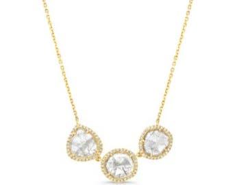 Pendant necklace, bezel Setting, Diamonds, 18K necklace, statement Necklace, Fine Jewelry,Necklace,