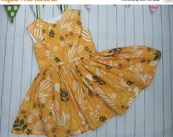 20%OFF - ENDS 4th JULY - Girl'S Summer Dress - Toddler Girls Sun Dress - Little Girl's Summer holiday Dress- Yellow Flowery Dress - 1950's F