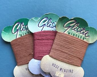 Glista Mendarn Vintage Retro 1950's Hosiery Darning, Mending, Repair, Thread, Silk, Stockings, Hose, Lisle,