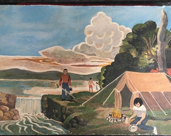 Folk Art Style Painting Family Camping