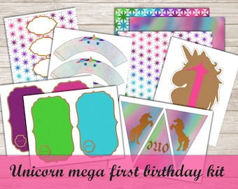 Unicorn First (1st) Birthday Party Printable and Editable Mega Party Kit with decorations and food labels: Jewel Tones