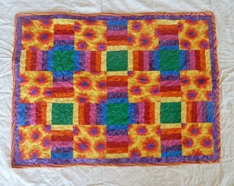 Color Burst Rainbow Baby Quilt