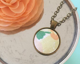 Fabric Pendant Necklace Vintage Sheet Jewelry Repurposed  Best Friend Gift Mother's Day Gift Under 30 Vintage Style Fabric