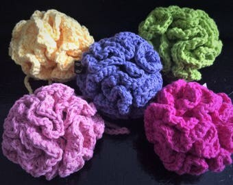 Crochet 100% Cotton Shower Pouf Puff Loofah – Great Gift!