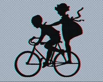 Embroidery bike ride boy girl machine digital files