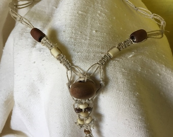 Hemp Macrame Necklace - Wood Beads - Bohemian Necklace - Hemp Necklace - Boho Necklace