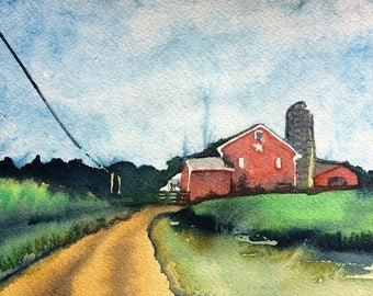 Watercolor Painting of a Farm