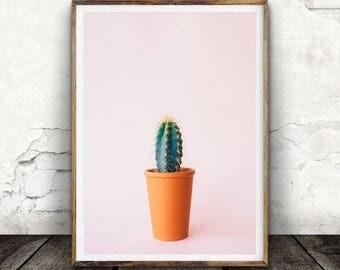 Potted Cactus, Pink Pint, Digital Wall Art, Tropical Print, Cactus Print, Succulent, Nature, Decore, Plant Print, Botanical Print, Art