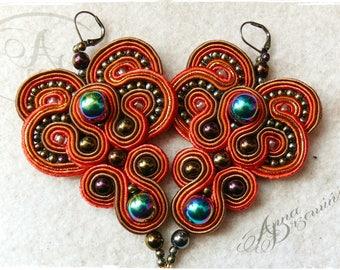 Earrings Autumn Leaf Boho soutache jewellery Fashion Jewel Brown and Gold Earrings
