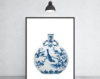 blue and white vase art print Ming vase chinoiserie ginger jar art indigo blue porcelain Ming Dynasty art
