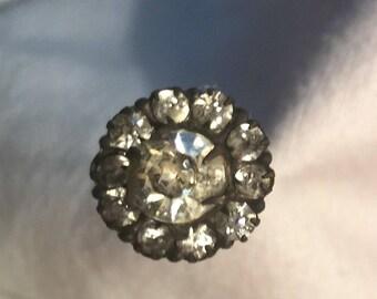 Antique  Hatpin w/prong set clear rhinestones