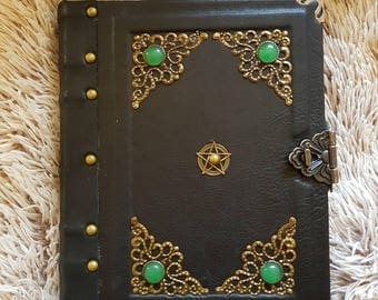 antique handmade leather grimoire