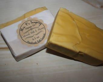 Oatmeal Milk & Honey Handmade Yellow Soap