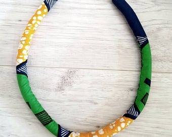 Print Rope Necklace Fabric Necklace Bright Coloured necklace Ethnic Jewellery Tribal Accessories Collier en tissu wax