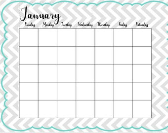 12-Month Any Year Teal and Gray Calligraphy Calendar