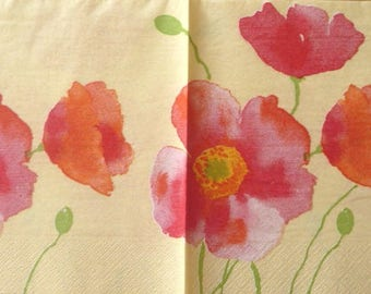Poppies on yellow paper towel
