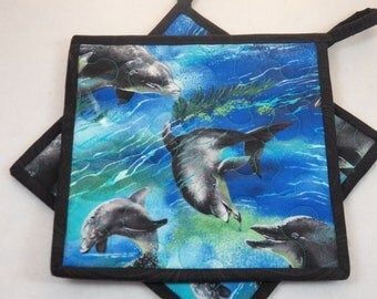 "TWO Quilted Reversible Dolphin Potholders, 8.5"" Square, Ocean Potholders, Happy Potholders, Quilted Mug Rugs, Quilted Snack Mats, Washable"