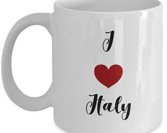 I love  Italy, Italy mug, I heart Italy, souvenir from Italy,, ceramic coffee mug