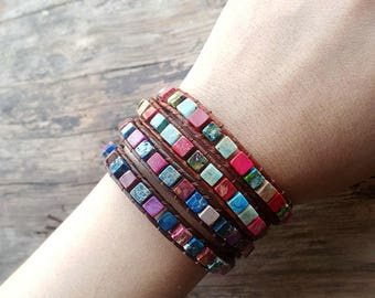 Stone and Leather Wrap Bracelet