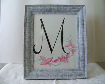monogram, letter M, decorative, hand-painted