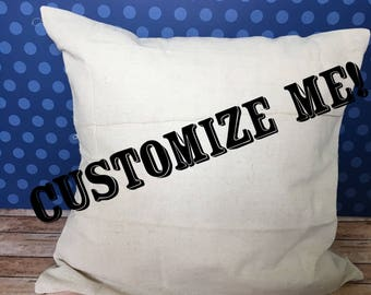 Customized Pillow Cover, Throw Pillow Cover, Text on Pillow Cover, Faux Linen Pillow Cover