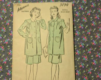 Vintage Advance 3190 Women's Smock Pattern, size 14/32, Rare, 1940s