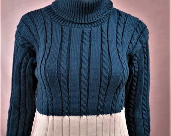 Pullover Wool Sweater, Turtleneck, sweater women sweater warm sweater, winter sweater blue sweater Wool Sweater, knitted sweater, hand made sweater