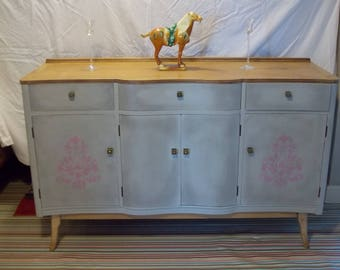 A Stunning Annie Sloan Hand Painted Curve Fronted Side Board