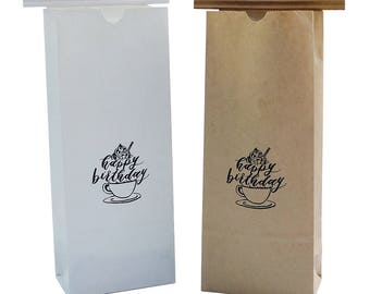 Coffee Bean Bags/Coffee Bags/Paper Coffee Bags/Gift Bags/DessertBags/Happy Birthday Goodie Bag
