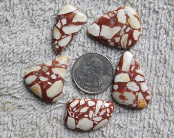 Lot ! Top quality Brecciated Mookaite Jasper gemstone Cabochon looking Excellent Quality Natural handmade Gemstone  119cts, 5pieces.
