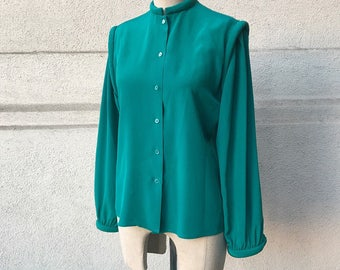 Vintage Emerald Piped Collar & Shouldered Blouse