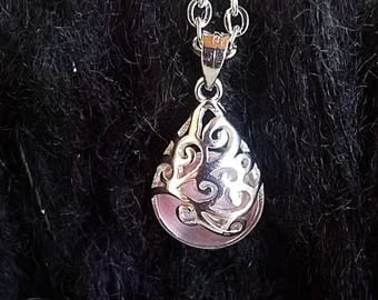 Silver plated necklace/ white-pink/ moonstone